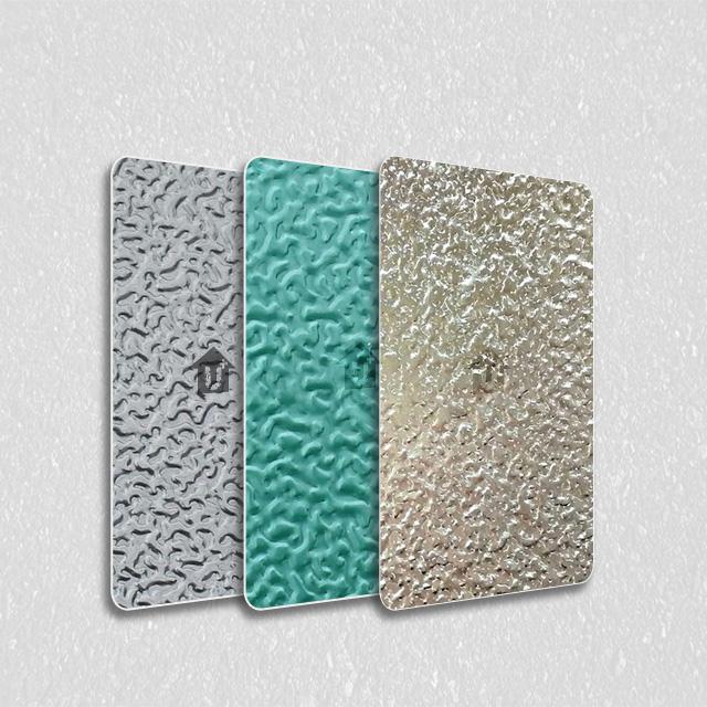 装饰彩涂钢卷板-压花覆膜根据色卡定制报价-河北蓝天装饰彩板厂家
